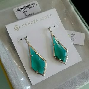 Kendra Scott Olivia gold earrings Emerald